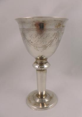 Antique 19thc Victorian Silver Egg Cup / Cup Engraved With Initials & Date 1870