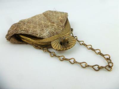 Pretty Small Antique Edwardian Chatelaine Gold Metal Gold Fabric Purse Bag c1910