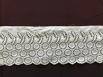 """ANTIQUE ENGLISH EMBROIDERY EDGING TRIM GORGEOUS FOR DOLL DRESS 22"""" by 4"""""""