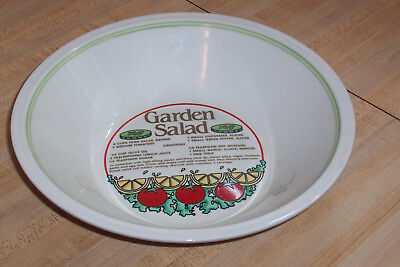 Preowned Heavy Ceramic Mulit-Colored Garden Salad Bowl with Recipe Green Trim