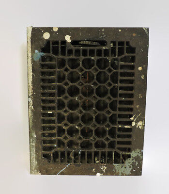 Antique Cast Iron Heating Grate Vent W/ Louvers Honeycomb Design 14 X 11 Z