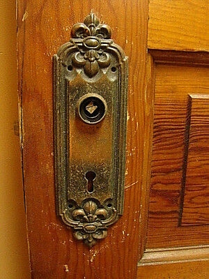 "Antique Gorgeous Iron Door Knob Backplate 2 3/8"" X 8 """