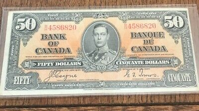 Bank Of Canada 1937 $50 Fifty Dollar Bill - B/H - Good Condition - Miscut