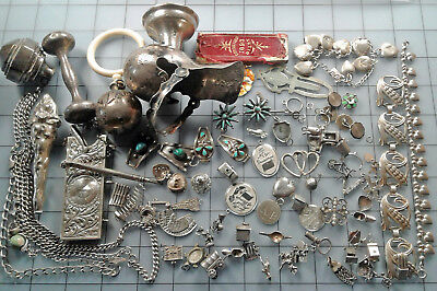 Sterling Silver Scrap Lot Charms Baby Rattles Notebook Case Chain Etc. 300gr +