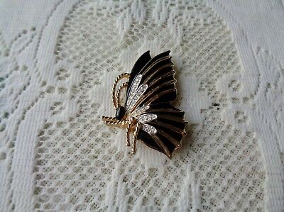 Panetta Signed Black Enamel Pave Rhinestones Butterfly Brooch Ec Beautiful