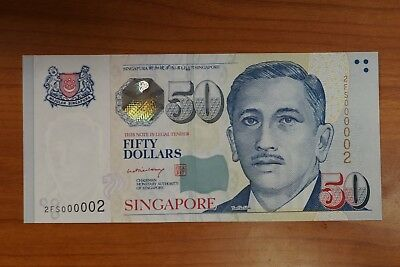 Singapore P-49a 2008ND $50 note in gem-UNC nice low # 2FS000002 (v500)