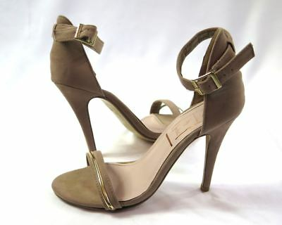 Desire by Jacobies Taupe Tan Strappy Heels 6.5