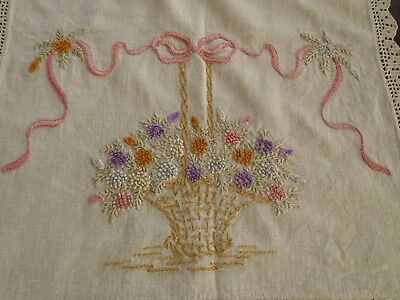 Antique/Vintage Hand Embroidered French knots natural Linen Table runner
