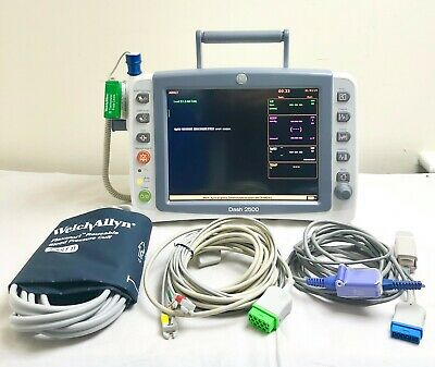 GE DASH 2500 PATIENT MONITOR ALL LEADS SpO2 ECG NIBP TEMP x2 CUFFS