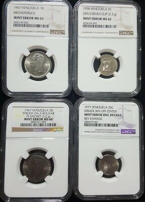 1958 - 1967 Venezuela Error Coins (4 coins) NGC authenticated bolivar centimos