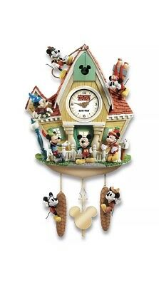 Disney Mickey Mouse Through The Years Wall Cuckoo Clock Lights Music & Motion*