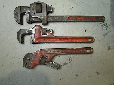 "(3) Rigid Pipe Wrenches 10"", 10""e, & 14"" - Plumbing Tools"