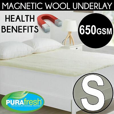 SINGLE 600 GSM MAGNETIC WOOL UNDERLAY HEALTH Fully Fitted Underblanket Topper