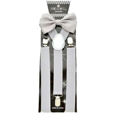 New Gray Bow Tie Suspender set Tuxedo Formal Men Wedding  USA SELLER