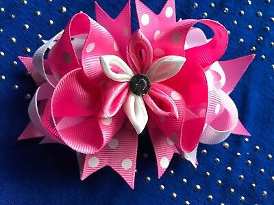 Lovely  Pink & White With Dots  Valentine Hair Bow Clip Alligator Clip