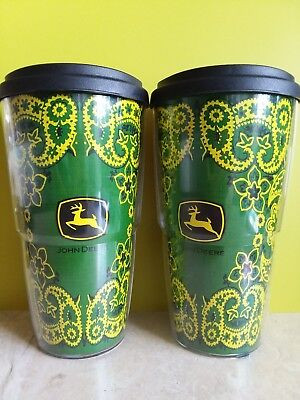 Lot of 2 John Deere ThermoServ Insulated Tumblers 24 OZ With Lid Made in USA