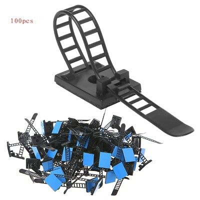 100 Pcs Adjustable Cable Clips Self-Adhesive Cord Fixer Wire Clamp Strap Holder