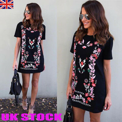 Womens Floral Printed Short Mini Dress Summer Beach Long Tops T Shirt Size 6-16