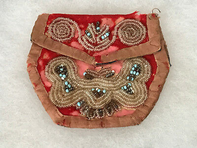 Antique Iroquois Native American Indian Beaded Miniature Purse Bag Pouch