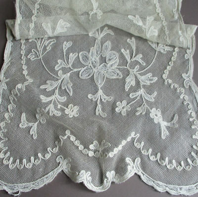 "Vintage Creamy French TAMBOUR LACE Embroidered Runner 42"" X 13"" FLOWERS + Swags"