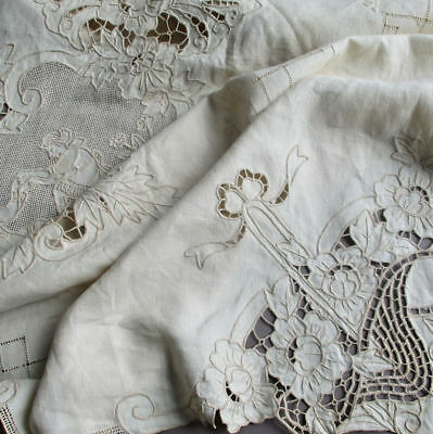 "Antique ITALIAN Embr Linen + Point de Venice LACE Tablecloth FIGURAL 120"" X 67"""