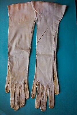 """Vintage Gloves 13"""" Long White Kid Leather Size 6 Discolored Good for Crafts"""