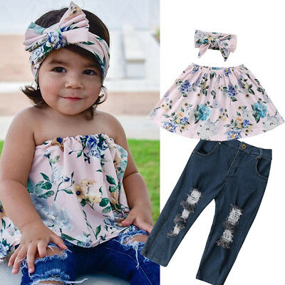 Toddler Kids Baby Girl Off Shoulder Top Denim Pants Jeans Outfits Set Clothes US