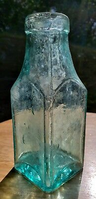 Antique Crude Whittled 1870s Pickle/Condiment Bottle/Jar Cathedral Style Panels