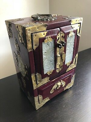 Vintage Chinese Asian Carved Jade Green Stone Brass Wood Jewelry Box Chest Art