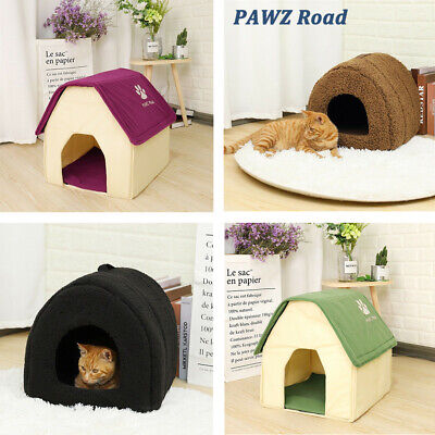 Large Pet Dog Puppy Cat Fleece Igloo Bed Warm Sleep House/Tunnel/Snug/Pod/Cave
