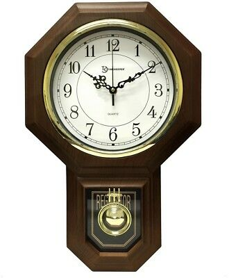 Wall Clock with Pendulum and Westminster Chime Dark Faux Wood Schoolhouse Design