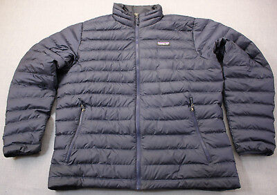 Patagonia Logo Mens Blue Quilted Ripstop 800-Fill Down Sweater Jacket  L  $229