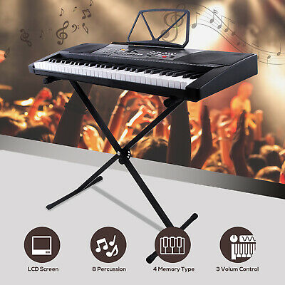 61 Key Music Digital Electronic Keyboard Piano Organ with X Stand Kids Adult