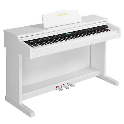 88 Key LCD Digital Electric Piano Keyboard w/Stand+Adapter+3 Pedal Board White