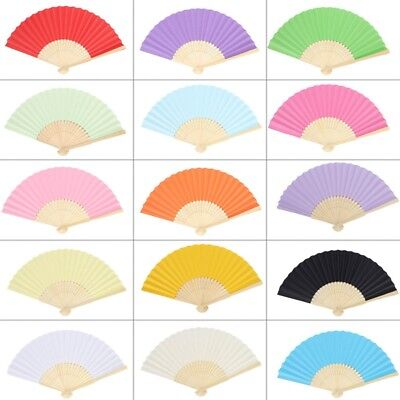 Chinese Style Hand Held Bamboo Paper Fan Folding Fan Wedding Party Decor Favors