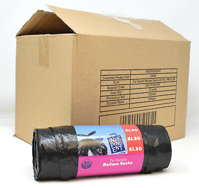 Cheap 70L Tie Handle Black Bin Liners Household Waste Refuse Sacks Rubbish Trash