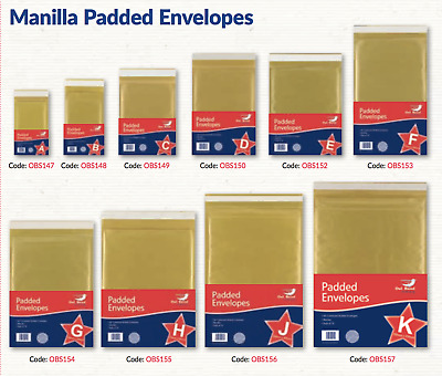 Manilla Gold Padded Bubble Envelopes Postage Mail Bags - All Sizes - Bulk Buy