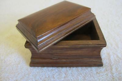 Antique Vintage Casket Shaped Wooden Box w. Lid