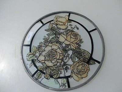 """Retro Stained Glass Window Panel Old Leaded Roses Floral Flowers D.W.R 1986 8""""W"""