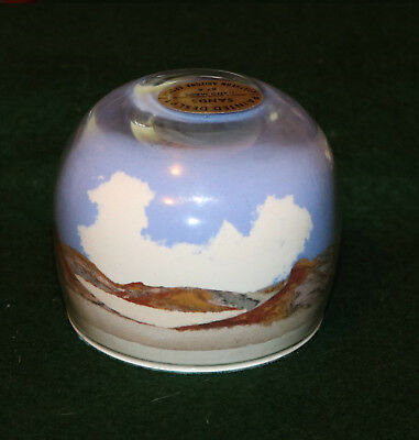Vintage Painted Desert Art Glass Paperweight Hand Made With Sand By Usa Natives