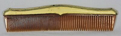 Antique Art Deco Enamel on Solid Brass Decorative Hair Comb, Celluloid 1930s