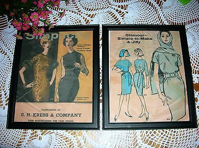 Vintage Sewing Room Decor Framed Ladies Pattern Book Page Antique Shabby Look