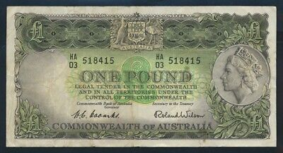 "Australia: 1953 FIRST ISSUE QEII £1 ""Commonwealth Bank"" Title. VF Cat $80"