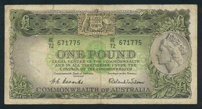 "Australia: 1953 FIRST ISSUE QEII £1 ""Commonwealth Bank"" Title. Fine Cat $40"
