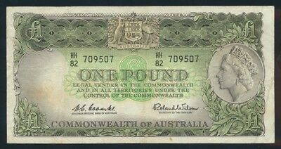 "Australia: 1961 LAST ISSUE QEII £1 ""Reserve Bank"". GOOD F - Cat VF $55, F $30"