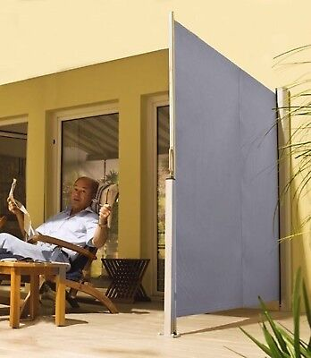 Excalibur Outdoor Living Retractable Privacy Side Screen & Sunshade - GREY - NEW