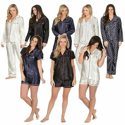 Ladies Plain / Printed Silky Satin Pyjamas Long Sleeve Nightwear Silk PJ'S