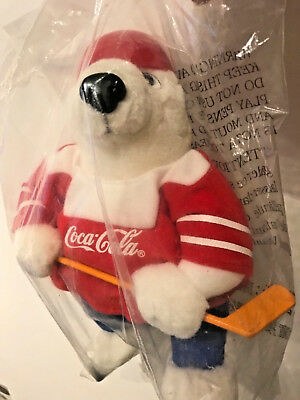 coca cola bear with ice hockey look 9 inches unopened new