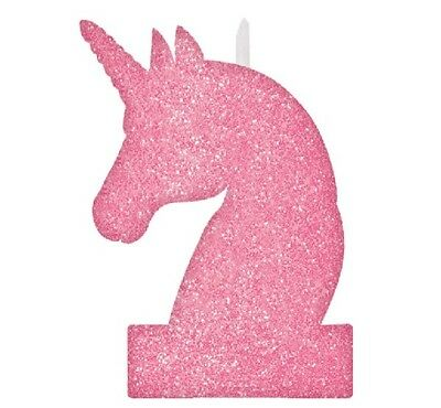 "** 5"" Pink Unicorn Glitter Candle Birthday Party Cake Decoration Girls New **"