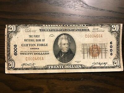 1929 $20 Brown Seal, The First National Bank of Clifton Forge Virginia (VA) Note